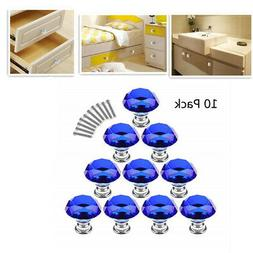 10Pcs Crystal Cabinet Knobs Pull Handles for Drawer Kitchen