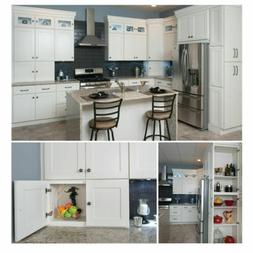 Kitchen Cabinets Set 10'x10 Wood Construction Modern White S