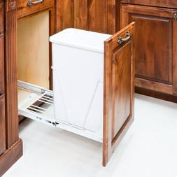 35-Quart White Single Pull-Out Waste Container System