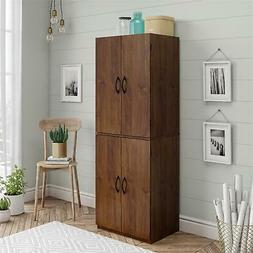 Tall Wooden Storage Cabinet Kitchen Pantry Cupboard Conceale