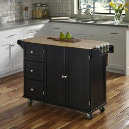 Home Styles 4510-95 Liberty Kitchen Cart with Wood Top, Blac