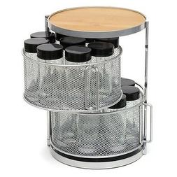 Lipper International 8718 Two-Tier Metal and Bamboo 18-Bottl
