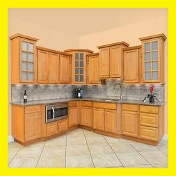 "90"" Kitchen Cabinets Richmond All Wood Honey Stained Maple G"
