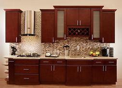 "90"" Villa Cherry Wood Kitchen Cabinets Cherry Stained Maple"