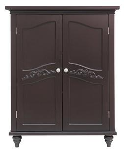 Elegant Home Fashion Vera 2-Door Floor Cabinet, Dark Espress