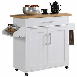 Hodedah Kitchen Island with Spice Rack, Towel Rack & Drawer,
