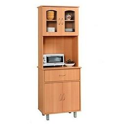Hodedah Long Standing Kitchen Cabinet with Top & Bottom Encl