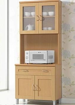 Hodedah Tall Standing Kitchen Cabinet with Top and Bottom En