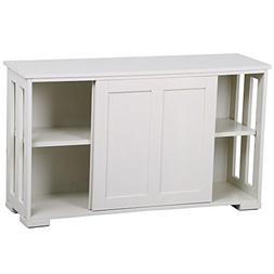 Yaheetech Antique White Buffet Cabinet Kitchen Table with Sl