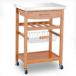 Bamboo Trolley Cart Kitchen Drawer Shelf Storage Rolling Rac