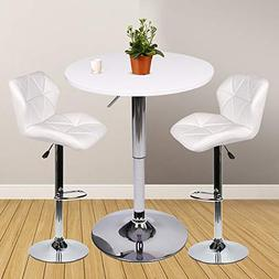 bar table set of 3 adjustable round
