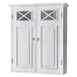 Bathroom Wall Storage White Cabinet with 2 Doors and Shelves