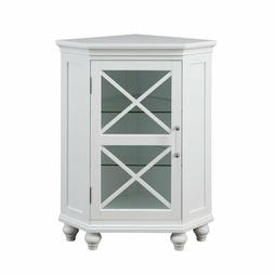 Blue Ridge Corner Floor Cabinet with Glass Door in White for