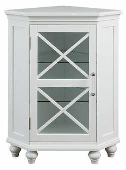 Elegant Home Fashions Blue Ridge Corner Floor Cabinet in Whi