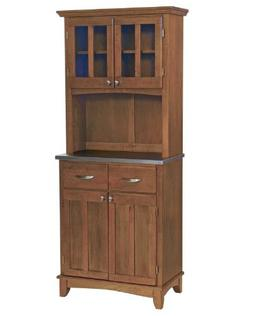 Home Styles Small Buffet with Two Glass Door Hutch, Cottage