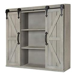 Kate and Laurel Cates Wood Wall Storage Cabinet Two Sliding