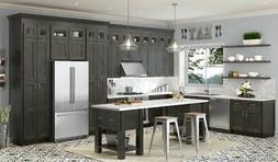 Charcoal Gray Shaker Stained RTA Kitchen Cabinets All wood,