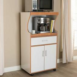 Contemporary White and Brown Kitchen Cabinet by Baxton Studi