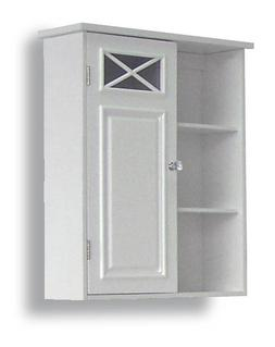 Dawson Medicine Cabinet in White w Shelves and Single Door