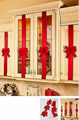 Decorative Holiday Kitchen Cabinet Ribbons with Bows - Set o
