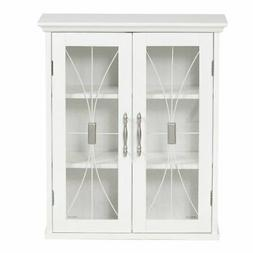 Elegant Home Fashions Delaney Wall Cabinet with 2 Doors, Whi