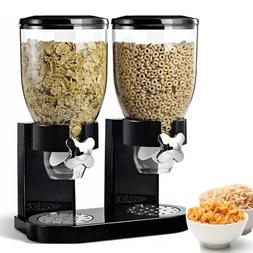 Dual Dry Food Nut Cereal Candy Dispenser Black Chrome Canist