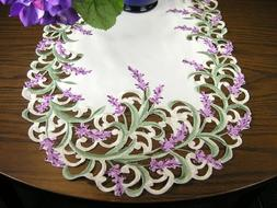 BANBERRY DESIGNS Embroidered Table Runner with Lavender Lila