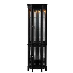 Southern Enterprises Essex Corner Curio Cabinet, Black Finis