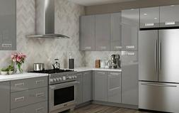 Fully Assembled 10X10 Ontario Gloss Metallic Gray Kitchen Ca