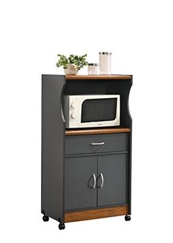 HODEDAH IMPORT HIK77 Grey-Oak Kitchen Cart