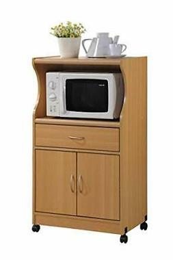 Hodedah Microwave Cart with One Drawer, Two Doors, and Shelf