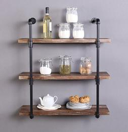 Homissue 31.5-Inch Industrial Pipe Shelf, 3-Shelf Metal Book