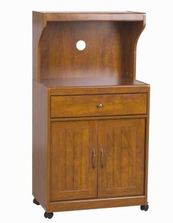 Home Source Industries Kevin Oak Microwave Cart Light Walnut