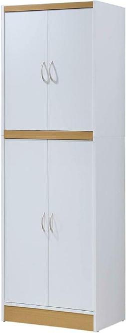 KITCHEN CABINET PANTRY 4-Door Cupboard Storage Organizer Whi