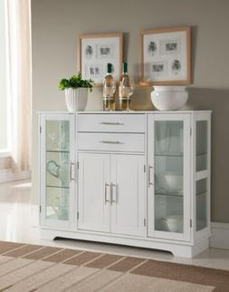 Kings Brand Kitchen Cabinet Storage Buffet With Glass Doors,