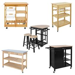 Kitchen Cart Island Rolling Home Dining Wooden Trolley Stora