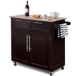 Giantex Kitchen Island Cart Rolling Storage Trolley Cart Hom