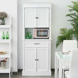 Kitchen Pantry Cabinet Cupboard with Doors and Adjustable Sh