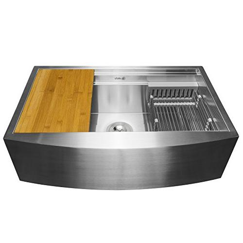 AKDY Apron Farmhouse Handmade Stainless Steel - x x Single Bowl Space Saving - Kitchen with Drain Strainer Tray and