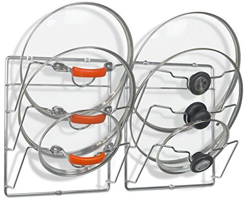 2 Pack - SimpleHouseware Wall Mount Pot Lid Organizer Rack,