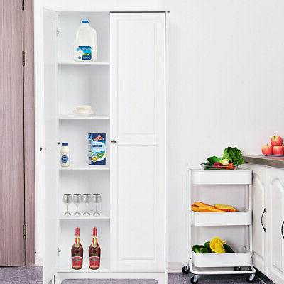 2-Door Tall Storage Cabinet Furniture White