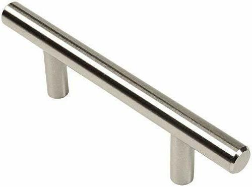 "Cosmas 305-030SN Satin Nickel Cabinet Euro Bar Pull 3"" Hole 5-3/8"" Overall Length 10 Pack"