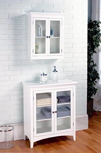 Elegant Home Fashions Madison Collection Shelved Double-Door Cabinet, White