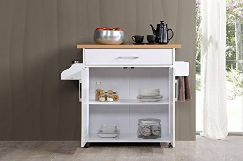 Hodedah Kitchen Island Spice Towel & Drawer, with Beech Top