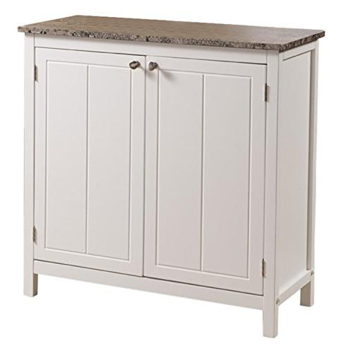 Kings Brand White Marble Finish Top Island Storage Cabinet