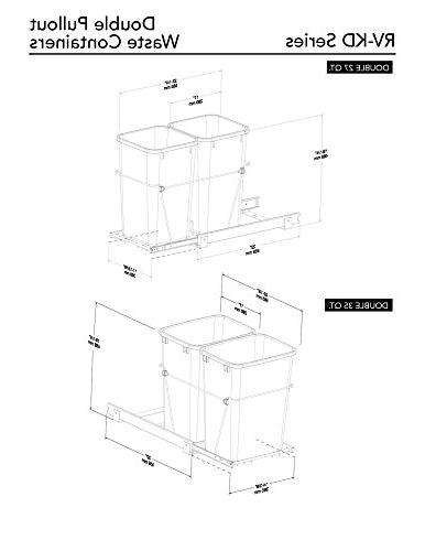 Rev-A-Shelf RV-18KD-18C - Double 35 Qt. Pull-Out and Chrome Waste