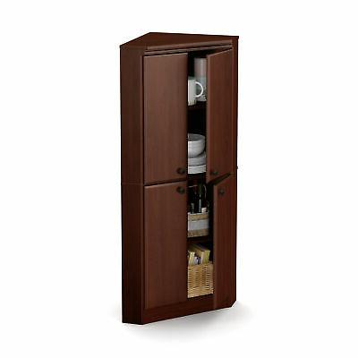 South Shore - Morgan 4-door Corner Armoire - Royal Cherry