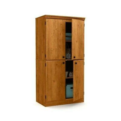 South Shore Tall 4-Door Storage Cabinet with Adjustable Shel
