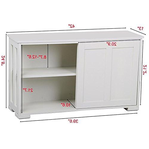 go2buy White Sideboard with Door Dining Room