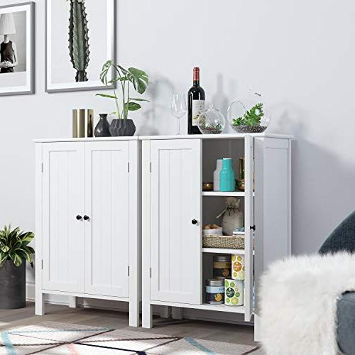 Homfa Floor Free Standing Side Storage with Doors and for Home White